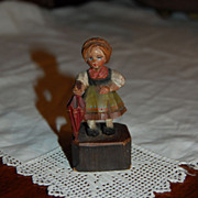 Vintage Black Forest Bavarian Wooden Girl Carved and Painted