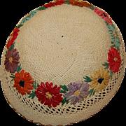 Vintage Woven Straw Hat Raffia Flowers