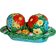 Bright Colored Flower Balls Japan Salt & Pepper Shakers