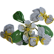 Vintage Spray of Yellow and White French Beaded Flowers