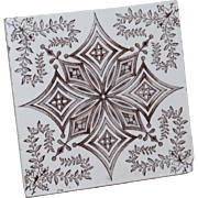 Brown Transferware English Tile