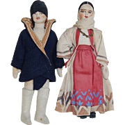 Vintage Handmade and Painted Ethnic Folk Cloth Dolls