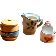 3 Handmade Miniature Stoneware Crockery for Dollhouse Kitchen