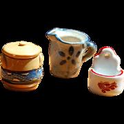 3 Handmade Miniature Stoneware Crockery for Dollhouse Kitchen