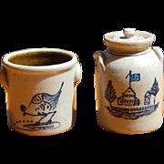 Signed Miniature Dollhouse Stoneware Crocks