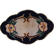 Dollhouse Rug Machined Silk Oval Floral Motif