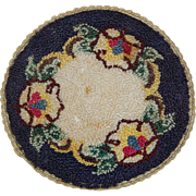 Vintage Dollhouse Round Rug Machined Silk Floral Motif