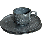 Vintage Doll Size Embossed Pewter Cup and Saucer