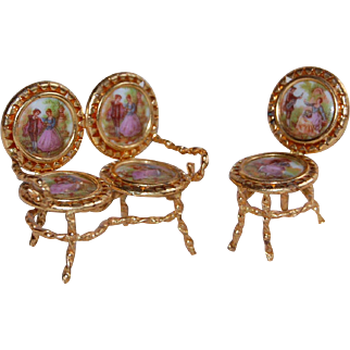 Miniature Limoges Chair and Settee Set