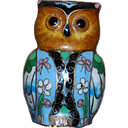 Sweet Cloisonne Owl Nice Colors!