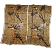 Mid Century Lois Long Pheasant Linen Towel Pair