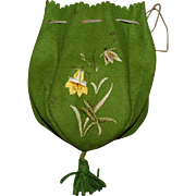 Vintage Felted Wool Reticule Purse with embroidery