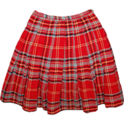 College Town of Boston Plaid Pleated Wool Skirt