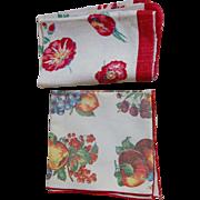 Vintage Fruit and Floral Kitchen Linen Towels