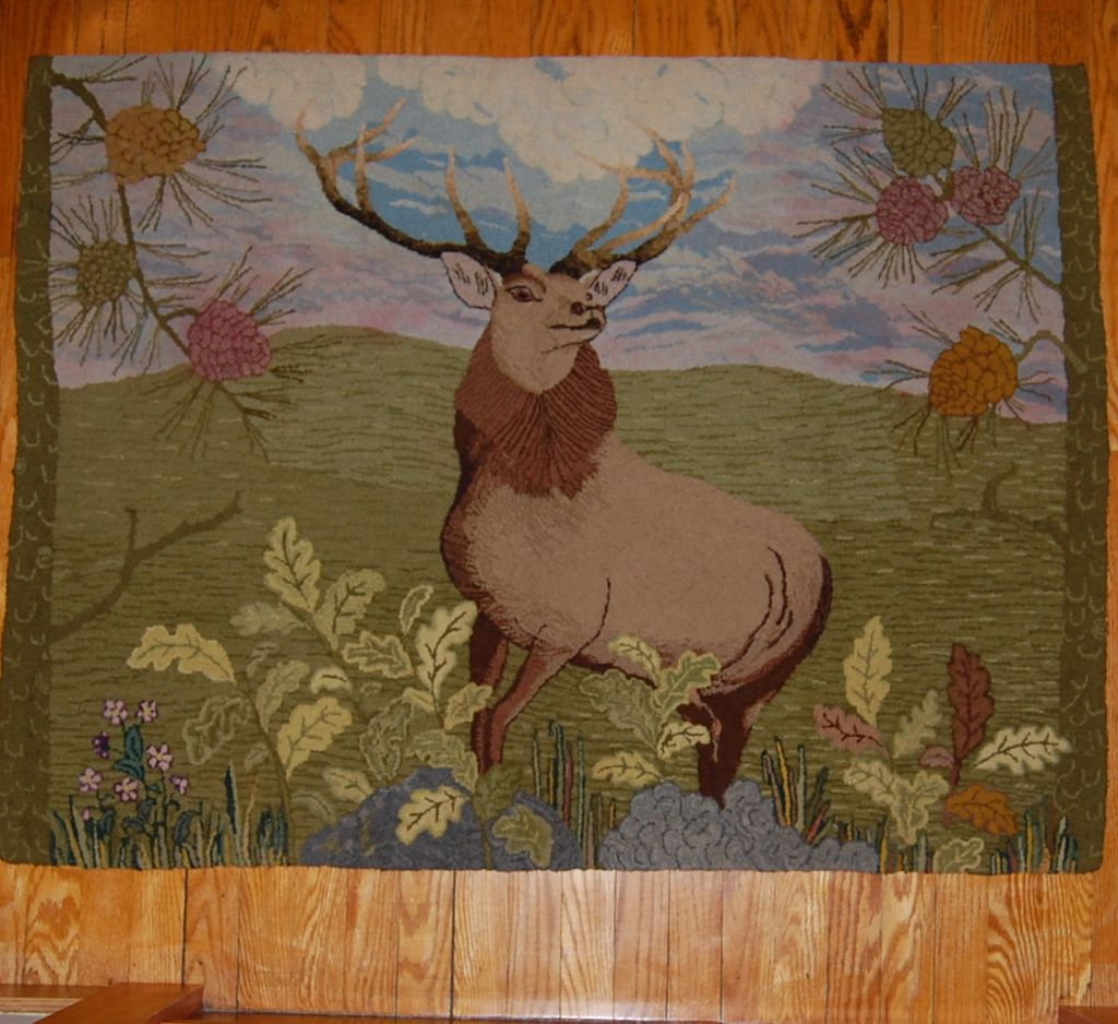 Amazing 'Monarch Of The Glen' Deer Hooked Rug From