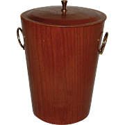 Mid Century Modern Teak Ice Bucket by Rainbow of Sweden