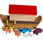 Vintage Tiny Wooden Noah's Ark with Little Animals