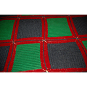 Large Color Block Knit Vintage Blanket