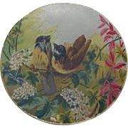 Painted Papier Mache Sweet Singing Sparrows Wooden Plate