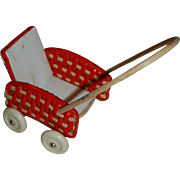 West German Red and White Doll Baby Carriage