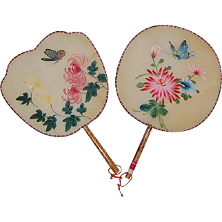 Two Painted Silk Paddle Fans