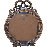 French Bronze w/ Enamel Round Easel Frame for table top