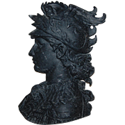 Classic Head of Winged Mercury Cast Aluminum Frieze