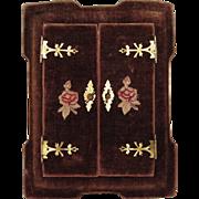 Lovely Brown Velvet and Brass Cabinet Card Table Frame