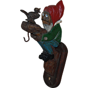 Vintage Carved and painted Gnome Wall Hook