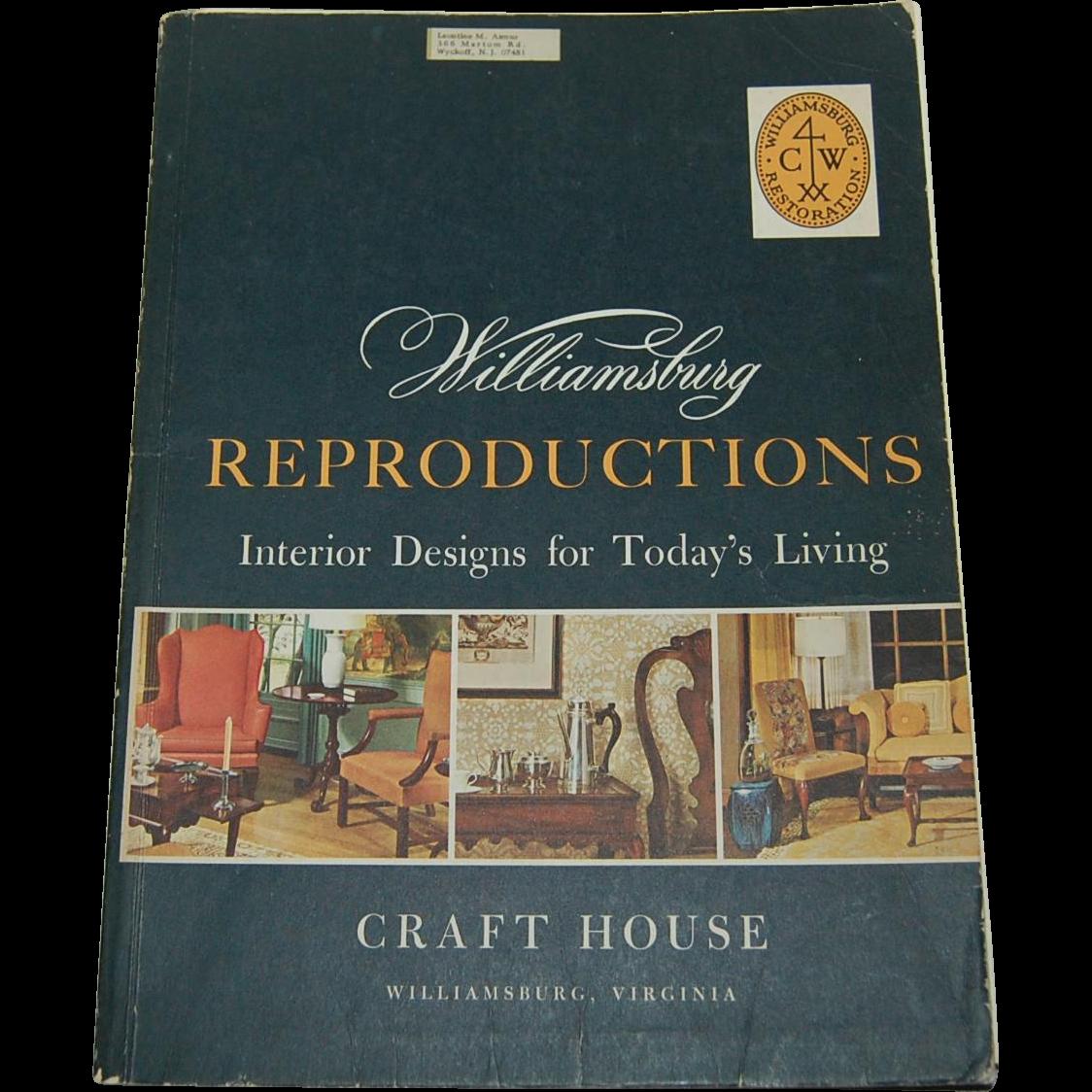 Wiliamsburg reproductions vintage catalog 1968 furniture for Williamsburg craft house catalog