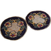 2 Dollhouse Blue Rugs Machined Silk Round Floral Motif
