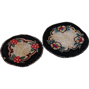 2 Dollhouse Black Rugs Machined Silk Oval Floral Motif