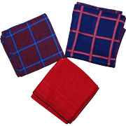 3 Men's Vintage Retro Handkerchiefs