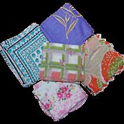 5 Vintage Colorful Women's Handkerchiefs