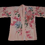 Vintage Kimono Style Pink Silk Robe with Chrysanthemum Flowers