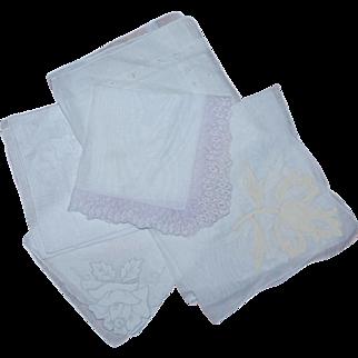 5 Vintage White on White Vintage Cotton Hankies