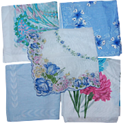 Lot of 5 Shades of Blue Handkerchiefs Vintage Cotton