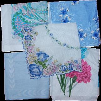 Lot of 5 Shades of Blue Hankerchiefs Vintage Cotton