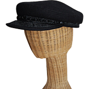 Greek Fisherman Hat Black Wool nice details
