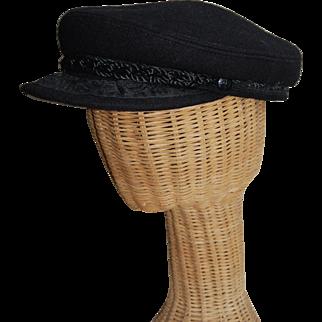 Greek Fisherman Hat Black Wool nice details