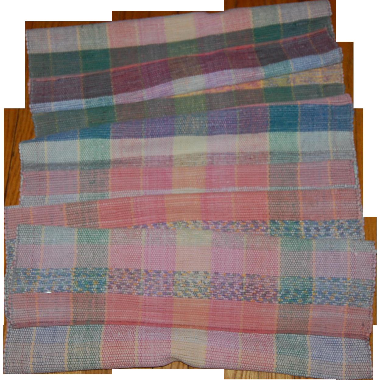 Vintage Rag Runner Rug In Pastels 9 Ft From