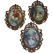 Three Small Italian Ornate Brass Picture Frames