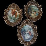 Three Small Italian Ornate Brass Picture Frames