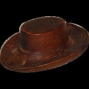 Miniature Carved Wood Cowboy Hat
