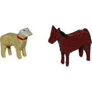 Tiny Putz Hand Carved and Painted Sheep and Horse