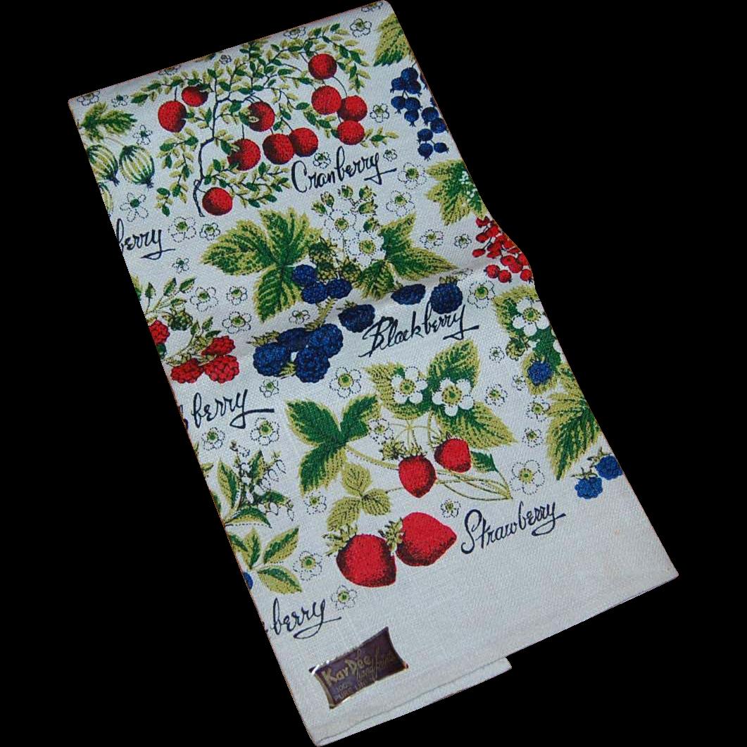 Kay Dee Vintage Berries Linen Kitchen Towel From