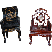 Vintage Chinese Chippendale Dollhouse Chairs Painted and Inlaid