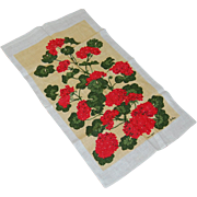Vintage Lois Long KayDee Linen Towel Summer Geraniums - Red Tag Sale Item