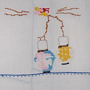 Vintage Batiste Hand Towel with Oriental Lanterns tiny cross stitch!