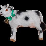 Vintage Kunstlerschutz Flocked Miniature Cow with bell